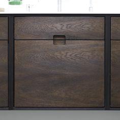 SkabRum kitchen with five individual cabinets made of smoked oak. Cabinet front. #kitchen #oak #smokedoak #wood #cabinets #danishdesign #madeindenmark #furniture #carpentry #joinery