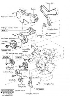 1MZFE Timing Belt component diagram