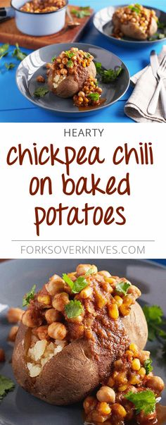 Chickpea Chili on Baked Potatoes - Plant-Based Vegan Recipe