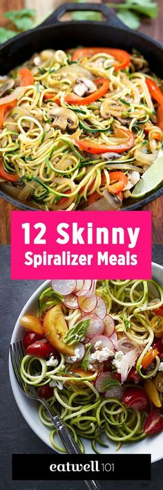 From sweet potato fries and creamy zoodles to carrot rice and beet noodles, here are 12 spiralizer recipes to make the most of this secret weapon for healthy cooking. paleo lunch for work Zoodle Recipes, Spiralizer Recipes, Veggie Recipes, Vegetarian Recipes, Potato Recipes, Vegetarian Tapas, Veggetti Recipes, Tapas Recipes, Party Recipes