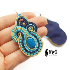 The Blue lagoon soutache earrings turquoise navy by MrOsOutache
