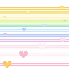 Rainbow Pastel - Double Striped Hearts -  © PinkSodaPop 4ComputerHeaven . com fabric by pinksodapop on Spoonflower - custom fabric