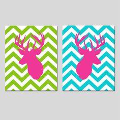 Set of Two 8x10 Prints - Chevron Deer - Bathroom, Nursery, Kitchen - You Choose the Colors - Gray, Green, Hot Pink, Aqua, Black, and More. $39.50, via Etsy.