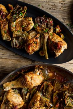 Imbued with the classic Mediterranean flavors of artichokes, garlic, mint and olives, this braised chicken is complex and highly satisfying, with a white wine sauce brightened with lemon. (Photo: Andrew Scrivani for The New York Times)
