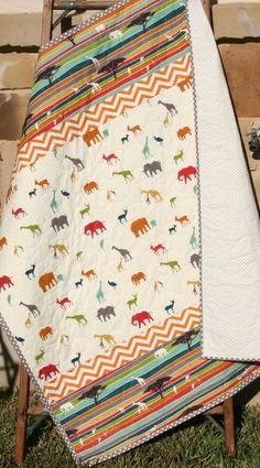 Modern Baby Quilt Gender Neutral Boy Girl Birch Organic Fabrics Serengeti African Safari Animals Elephants Giraffe Deer Stag Tribe Blue Teal by SunnysideDesigns2