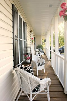 This porch is long and narrow like mine, but she managed to make it look pretty!