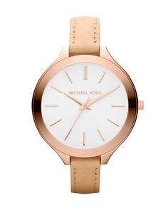 Michael Kors  Mid-Size Nude Leather Runway Watch.