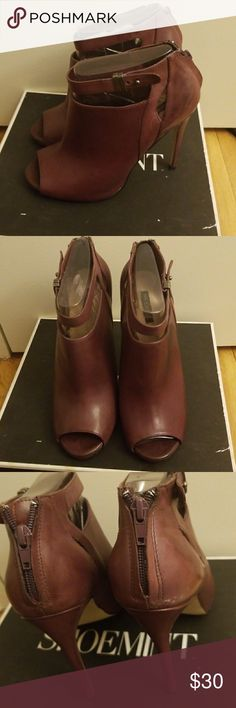 Shoemint open toe shoes These shoes are in great condition and come in the original Box. Does have minor marks on the shoe please look at the picture and ask questions .  Wine color Shoemint Shoes