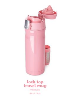 A pretty raspberry travel mug with a flip-open lid and a lock to prevent spills.