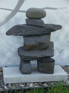 Inuksuk - Souvenir de la Gaspésie - Landscaping With Rocks, Outdoor Landscaping, Stone Cairns, Zen Rock Garden, Rock Sculpture, Garden Lanterns, Rock Decor, Garden Crafts, Pebble Art