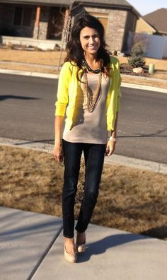 outfit ideas on Pinterest | Yellow Cardigan, Casual and Cardigans