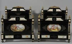 Pair of Napoleon III Ebonized Ormolu- and Sevres-style Porcelain-mounted Twin Beds, France, century/. French Furniture, Antique Furniture, Bedroom Furniture, Antique Beds, French Antiques, Clock, Twin Beds, Boudoir