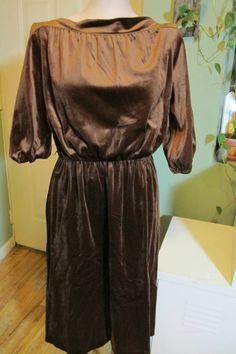 vintage 70s 80s cocoa BROWN VELVET boatneck secretary DRESS boho poet sleeve M #Dresses