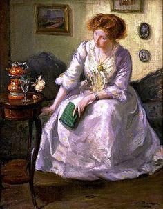 O livro verde, s/d Bessie Ellen Davidson ( Austrália 1879-1965) Óleo sobre tela National Gallery of Art, Austrália