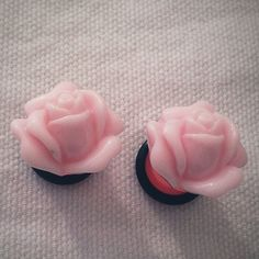 00g 10mm Pink Rose Plugs for stretched ears Gauged by Glamsquared, $17.00