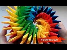 Super origami star - bright rotating star out of paper (Origami Swirl Star Torus by Yuri Shumakov) - YouTube