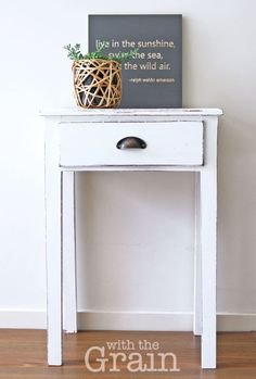 Based in Brisbane, With the Grain lovingly hand restores furniture to create beautiful, functional, statement pieces to complement your home. Each piece is unique and we also do bespoke items on request. This elegant side table is made of solid wood and has been hand painted in a vibrant Pure White (Annie Sloan Chalk paint), lightly distressed and finished with a satin varnish, making it very durable. The drawer is also painted Pure White inside and slides easily. This beautiful piece would…