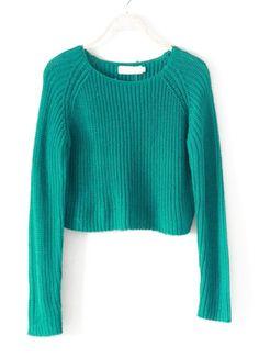 Green Long Sleeve Knit Crop Sweater US$23.61