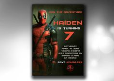 Deadpool Invitation Deadpool Birthday by GraphicsToPick on Etsy