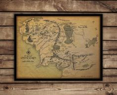 """Map of Middle earth, Middle earth map, Lord of the rings poster,fan art up to 30""""x 40"""""""