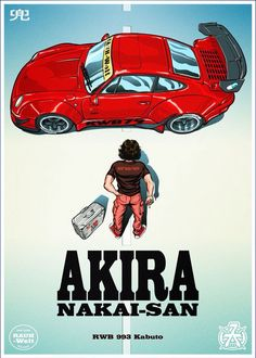 I created a graphic style poster from the movie anime Akira. This time the main role instead of Kaneda is Nakai-San, and Kaneda's motorcycle - replaced RWB Porsche 993 Kabuto from RAUH-Welt Begriff Warsaw. Akira Poster, Dm Poster, Car Posters, Comics Anime, Rauh Welt, Automobile, Creation Art, Ferdinand Porsche, Car Illustration