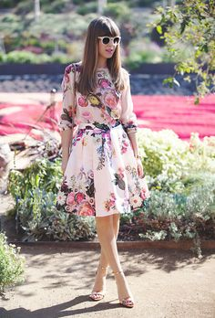 floral print dress with flirty shoes