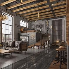 Modern loft with industrial features. Modern loft with industrial features. The post Modern loft with industrial features. appeared first on Housing ideas. Industrial Interior Design, Industrial Interiors, Industrial House, Home Interior Design, Interior Architecture, Industrial Lighting, Kitchen Industrial, Industrial Office, Industrial Loft Apartment
