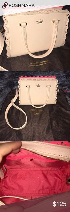 """Kate Spade Pink Scalloped Crossbody Kate Spade Pink Scalloped Crossbody. Great condition! No marks on the inside! Gold hardware. Comes with dust bag.  Crossbody drop is adjustable.  Bag is about 9"""" by 8"""". kate spade Bags Crossbody Bags"""