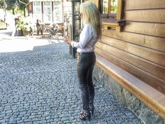 https://flic.kr/p/xfuuR8 | Sexy blonde with leather trousers - very warm day! I guess her trousers are very hot and moist :-)