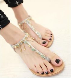 Sweet Little Pink Thong Flat Sandals with Rhinestone Chain