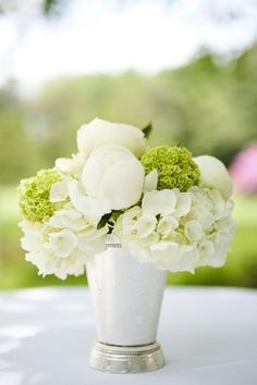 white and green peony and hydrangea arrangement in a julep cup by Kate Parker Flowers