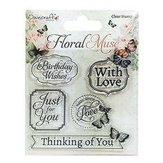 "Dovecraft Floral Muse ""Sentiments Tampon transparent, en silicone, multicolore"