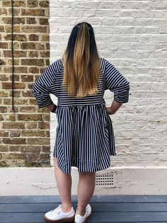 A striped jersey Cassiopée dress! - Self Assembly Required Out Of Shape, Striped Jersey, Gathered Skirt, My Design, Sewing Patterns, Cold Shoulder Dress, Dresses With Sleeves, Hacks, Casual