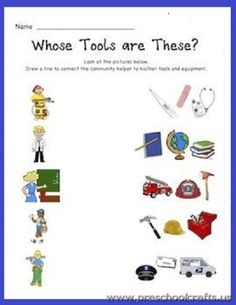After teaching my community helpers unit in kindergarten, I give this assessment. This assesses whether the students are able to match up community. Community Helpers Lesson Plan, Community Helpers Kindergarten, Community Helpers Worksheets, Kindergarten Social Studies, School Community, Classroom Community, Kindergarten Worksheets, Worksheets For Kids, Printable Worksheets