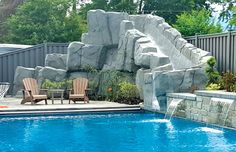 10 best pool rock slides images on pinterest blue haven for Swimming pool design utah