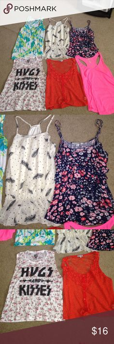 Tank top bundle! Tank top bundle! Starting with the bluish greenish shirt. It is size small, worn but nothing wrong with it. The white shirt with leaves on it is size small barely worn. The Navy blue flowered shirt size s/m worn but good condition. The hugs&kissed shirt size XL in juniors fits size small in adult size, barely worn. The Orange laced shirt size small never worn. The pink shirt size small worn about twice great condition. All the shirts are from different places mainly forever…
