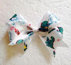 New Handmade Satin Ribbon Dinosaur Hair Bows Clips  Accessories Hairbows
