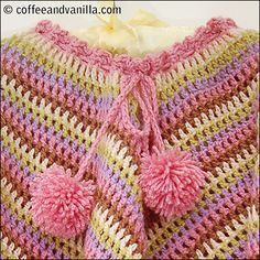 Extremely Easy Crochet Granny Square Poncho Pattern - Coffee and Vanilla