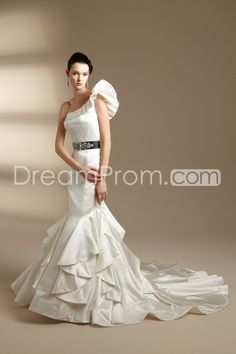 Brilliant Trumpet/Mermaid One-Shoulder Floor-length Chapel Ruched Wedding Dresses