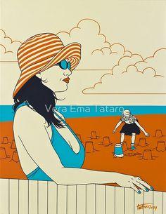 On The Beach - Sand City, acrylic painting