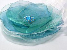 Ice Blue Sea Green Wedding Organza Bridal by susiesparrowdesigns
