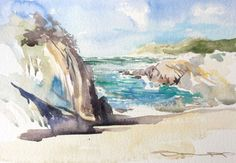 Ophelia Awakes Woolacombe Beach watercolour painting by artist Steve PP.