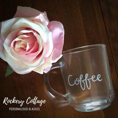 Engraved coffee glass, glass coffee mug, personalised mug Personalised Glasses, Personalized Mugs, Lettering Design, Hand Lettering, Glass Coffee Mugs, Pyrography, Hand Engraving, Glass Art, Etsy Seller