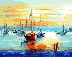40*50CM Oil Painting Sailboats.