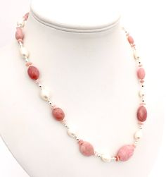 Pink Opal Gemstone Necklace, White Pearl Beaded Jewellery, Natural Opal, Freshwater Cultured Pearls, Semi Precious Natural Stone Jewelry by PreciousHCJewellery on Etsy