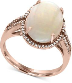 Fine Jewelry LIMITED QUANTITIES Genuine Pink Opal and 1/2 CT. T.W. Diamond Dome Ring