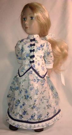 A Girl for all time hand made bustle dress Bustle Skirt, Blue Bow, Cotton Lace, Fitted Bodice, Printed Cotton, American Girl, Pixie, All About Time, Floral Prints