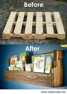 Wooden pallet bookshelves, not to hang but to sit on the floor in the reading corner.