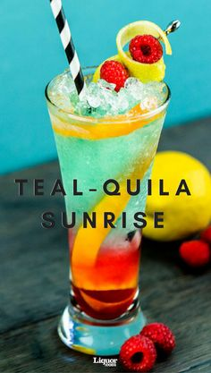 This fun, summer take on the Tequila Sunrise knocks out the grenadine for homemade raspberry syrup (don't worry, it's easy!) and a dash of blue curaçao for a drink that's as tasty as it is colorful.