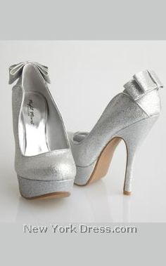 sports shoes 2e36a a0737 Allure HONOR - NewYorkDress.com Silver Glitter Shoes, Bow Heels, Shoes  Heels Wedges